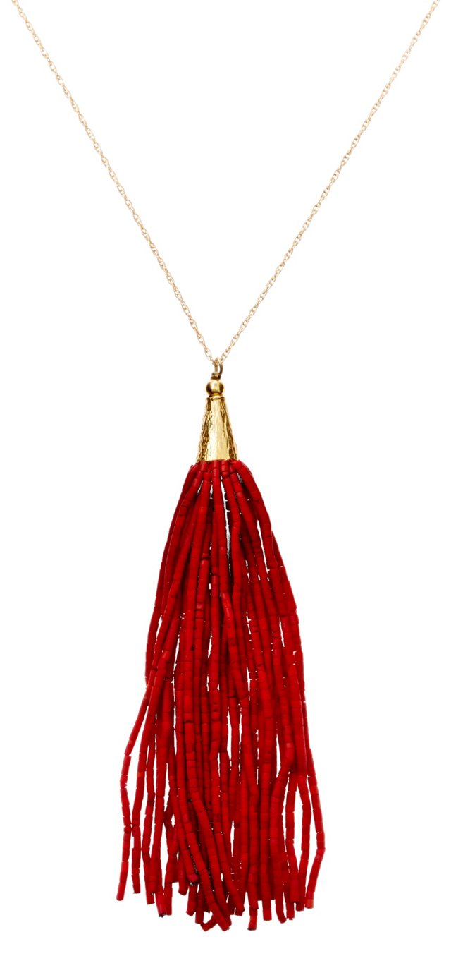 Long Heishi Tassel Necklace, Red Howlite