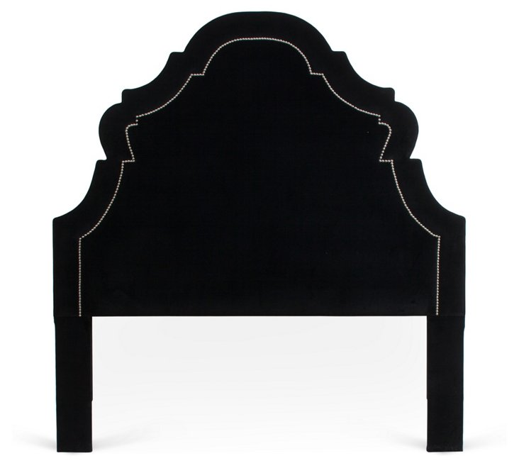 Velvet Upholstered Headboard, Black,
