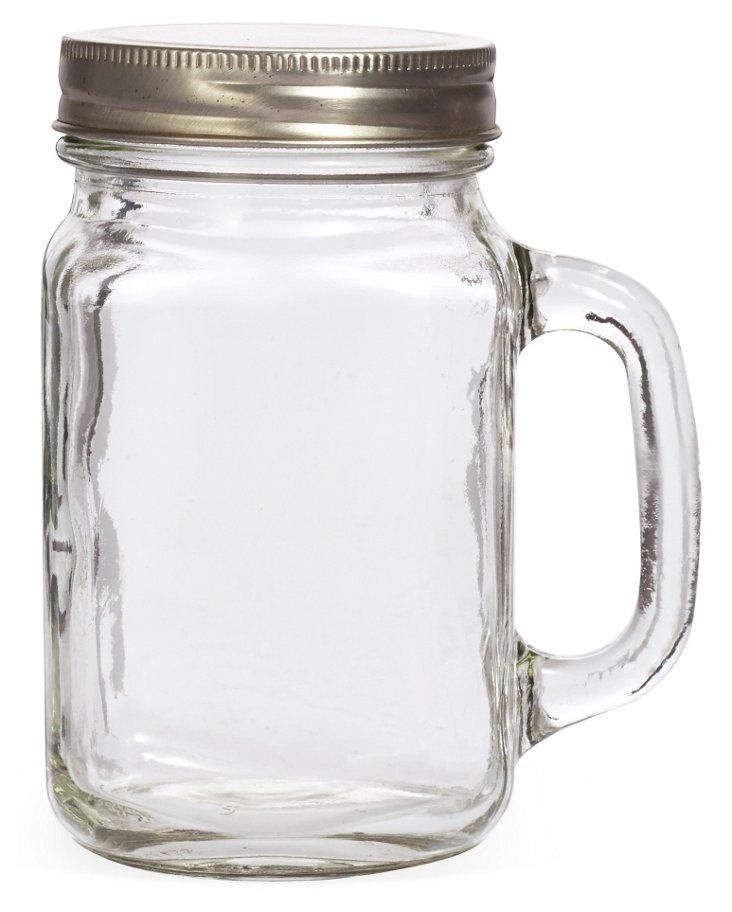 S/4 Lidded Mason Jar Mugs