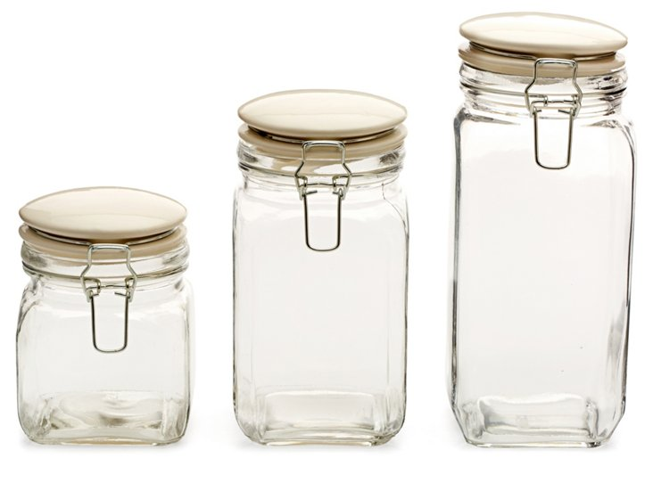 S/3 Assorted Glass Jars w/ White Lids