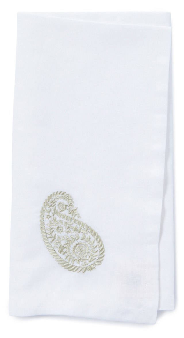 S/4 Embroidered Paisley Napkins, Silver