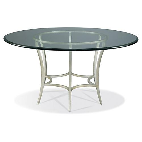 "Sunburst 60"" Round Dining Table, Silver"