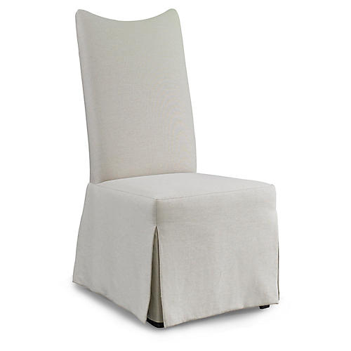Laurel Skirted Side Chair, White Linen