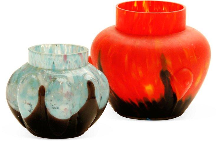 Art Glass Vases, Pair