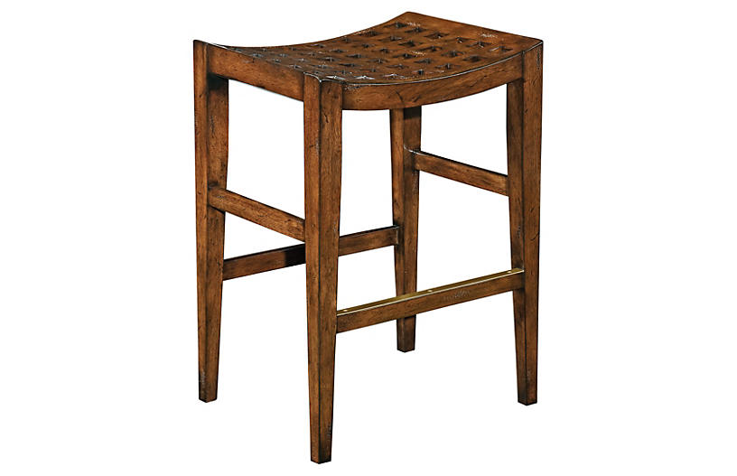 Checkerboard Counter Stool, Light Walnut