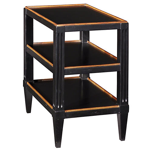 Swedish Tier Side Table, Black/Almond