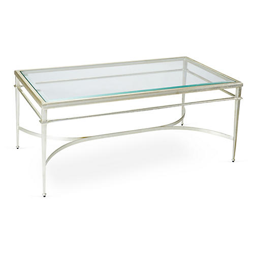 "Crosby 48"" Coffee Table, Silver Leaf"
