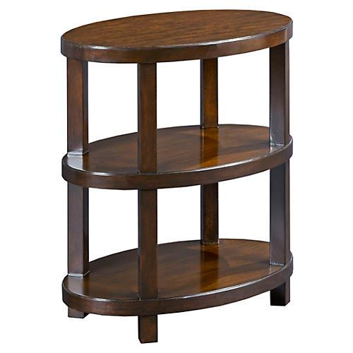 Lander Oval Side Table, Mahogany