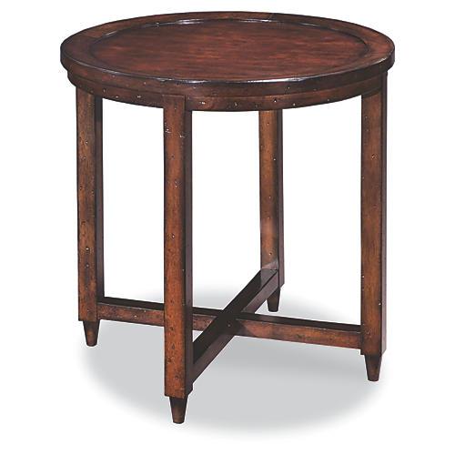 Edie Round Side Table, Dark Cherry
