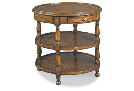 Beau Round Side Table, Distressed Cherry