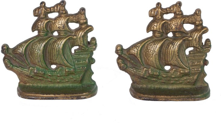Large Pirate Ship Bookends