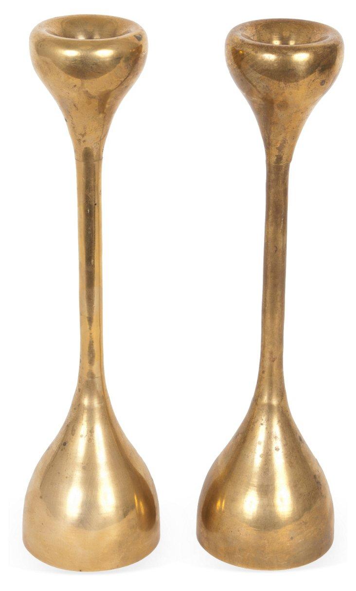 Simple Curvy Candlesticks, Pair