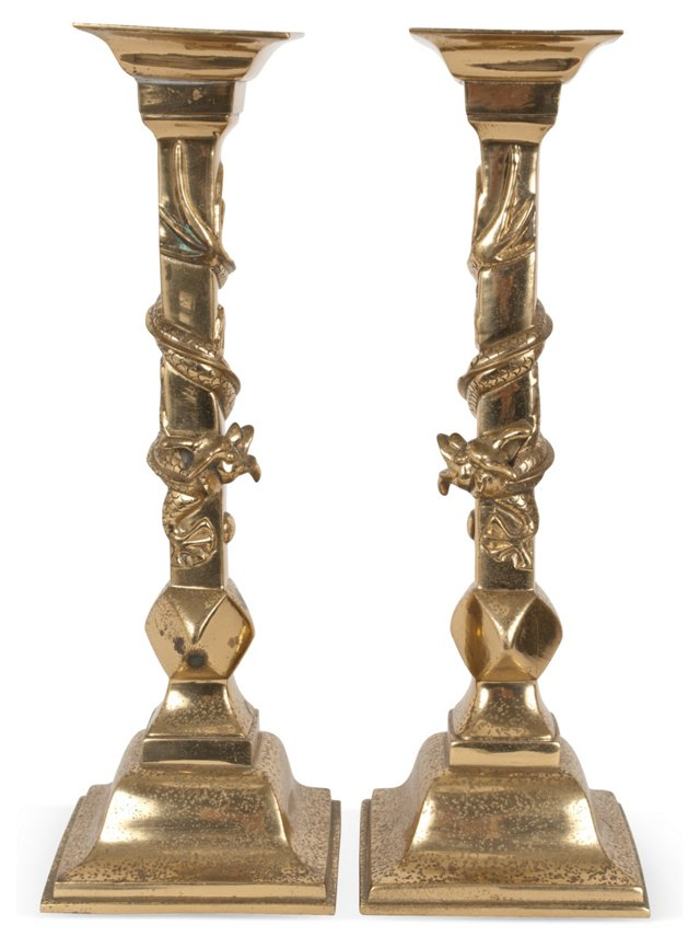 Brass Dragon Candlesticks, Pair