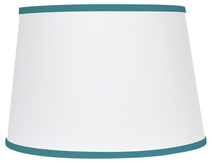 White Linen Shade w/ Blue Trim