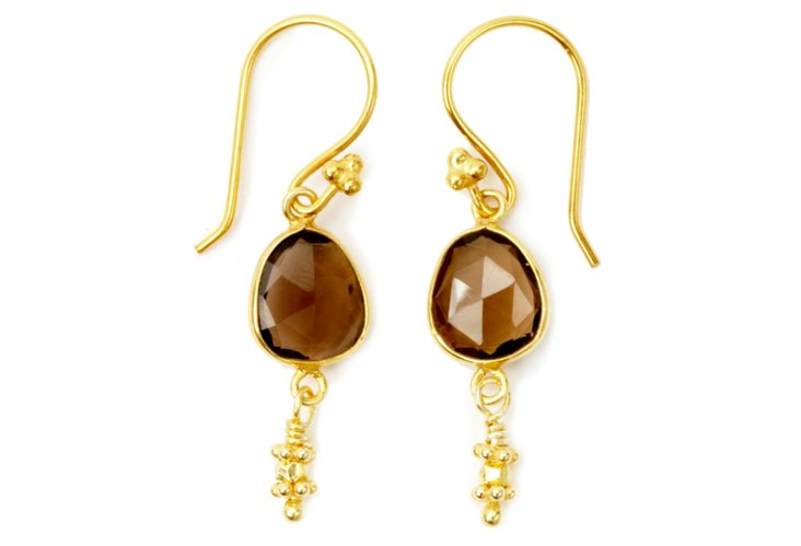 Juicy Drop Earrings, Gold Smoky Quartz
