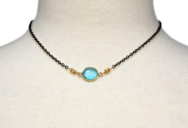 Blue Quartz Drop Necklace