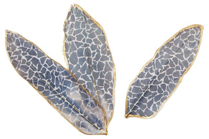 S/6 Giraffe Printed Feathers w/ Gold