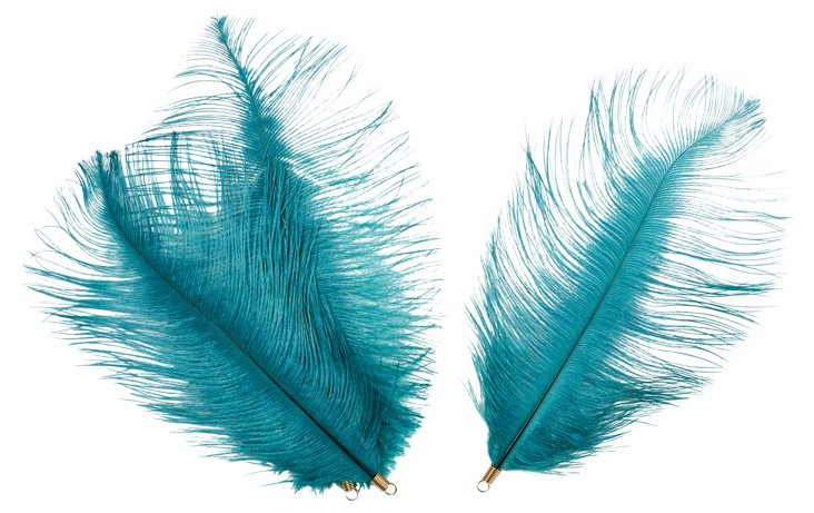 S/6 Ostrich Feathers Turquoise/Gold