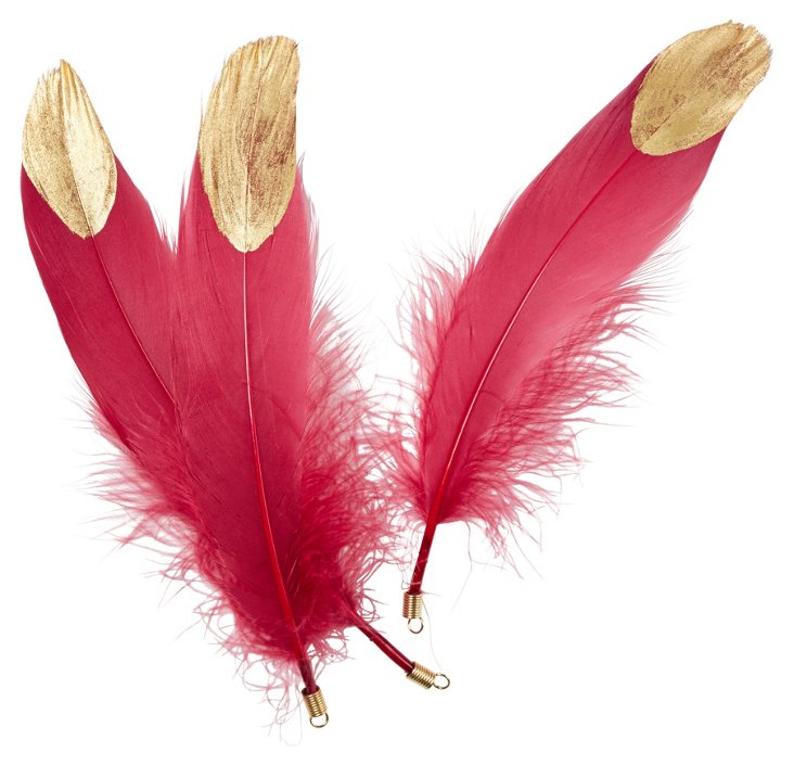 S/6 Magenta Goose Feathers w/ Gold