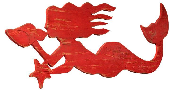 "44"" Swimming Mermaid Wall Decor, Red"