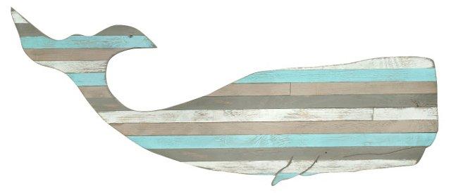 """41"""" Beach Whale Wall Decor, Multi"""