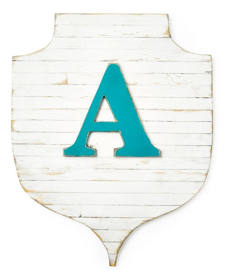 Rustic Monogram Shield, White/Teal