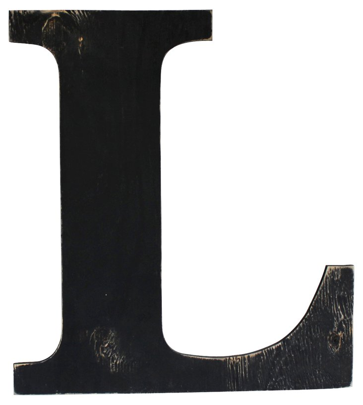 Distressed Wall Letter A-Z, Black
