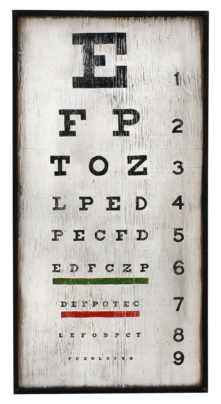 Eye Chart Wall Art, White