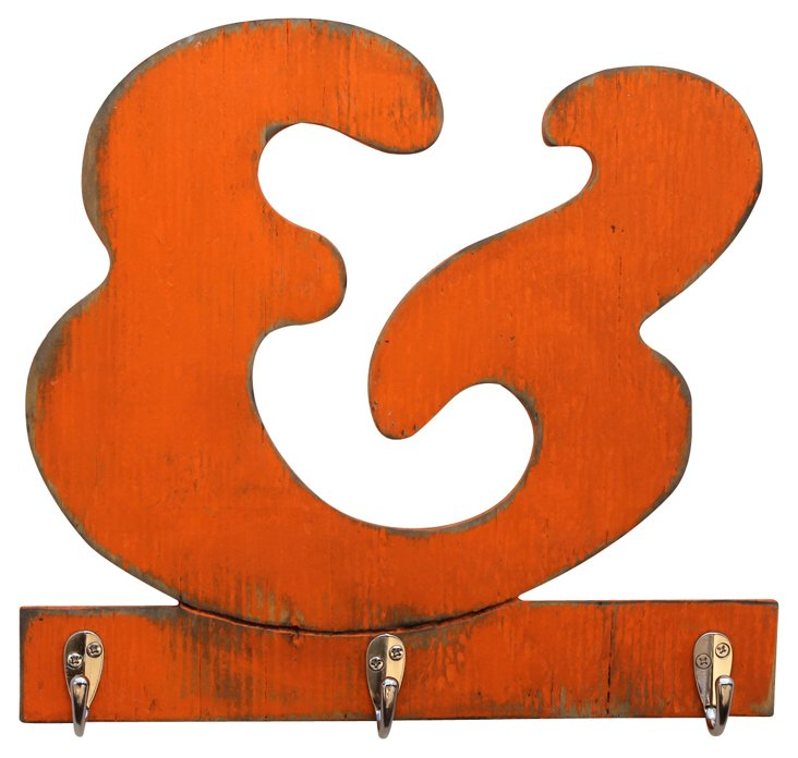 Ampersand Key Hook, Orange
