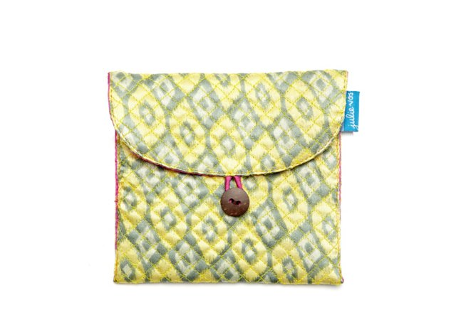 S/2 Small Jewelry Pouches, Green Ikat