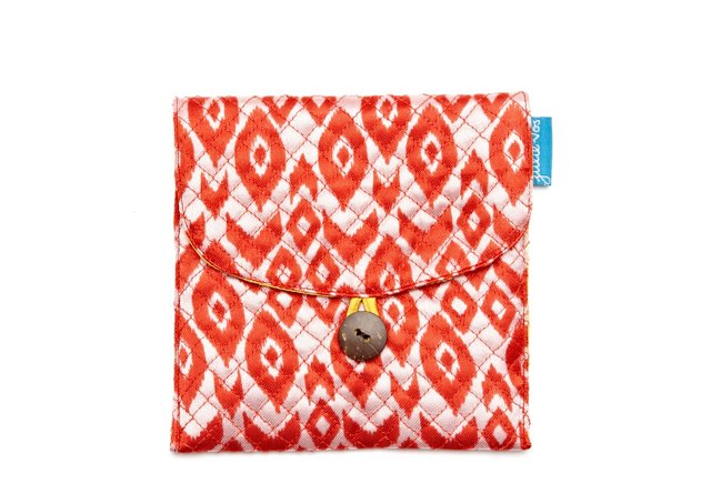 S/2 Small Jewelry Pouches, Red Ikat