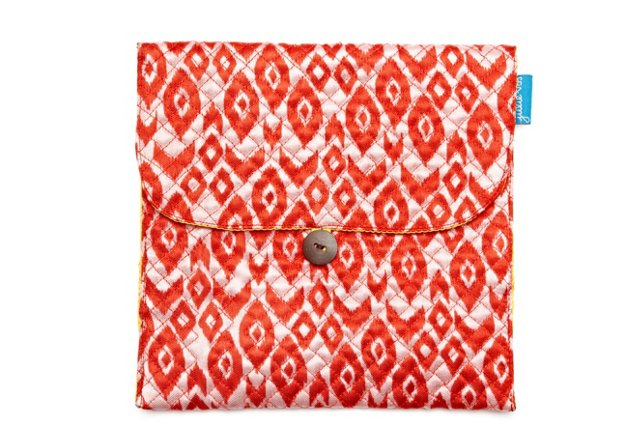 S/2 Large Jewelry Pouches, Red Ikat