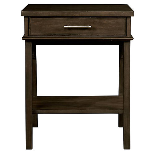 Chelsea Square 1-Drawer Nightstand, Raisin