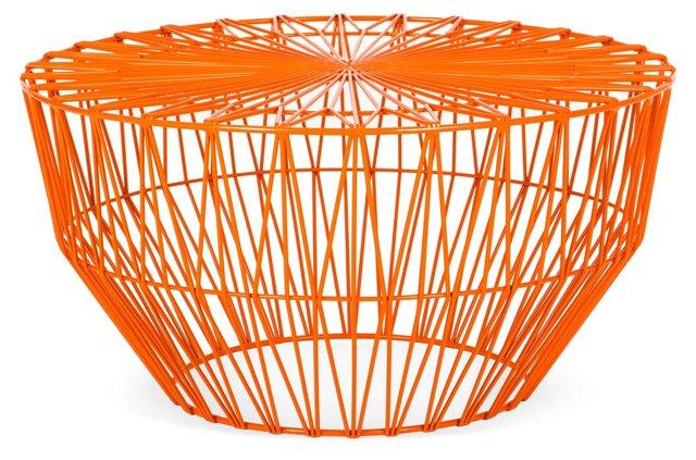 """Drum 24"""" Round Accent Table, Orange"""
