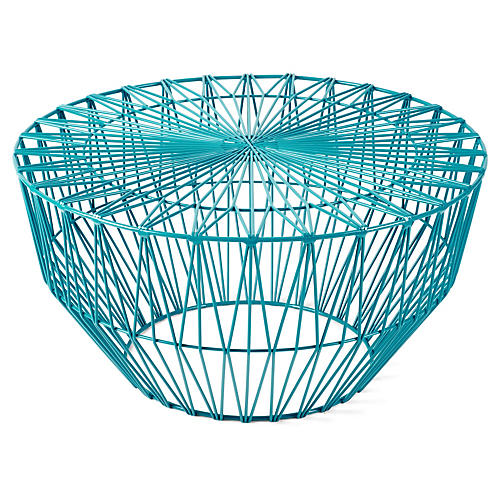 "Drum 24"" Round Wire Side Table, Blue"