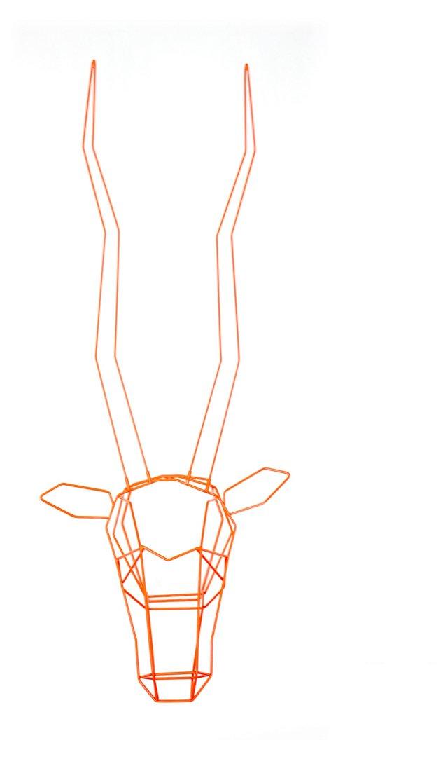 Wire Gazelle Wall Decor, Orange