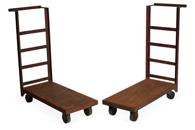 Iron Warehouse Carts, Pair