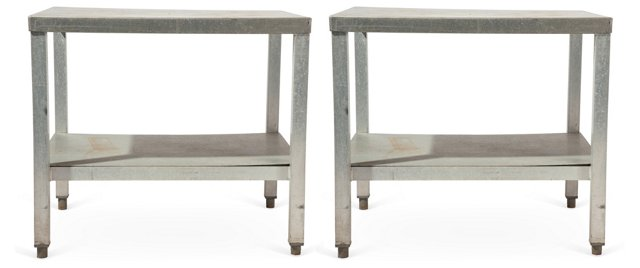Stainless Steel Tables, Pair