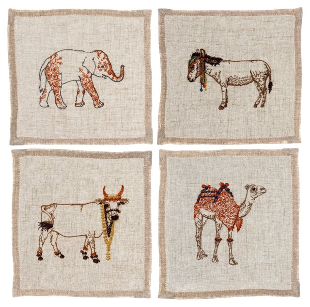 Indian Animal Cocktail Napkins, Set of 4