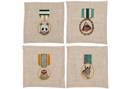 S/4 Medals Cocktail Napkins