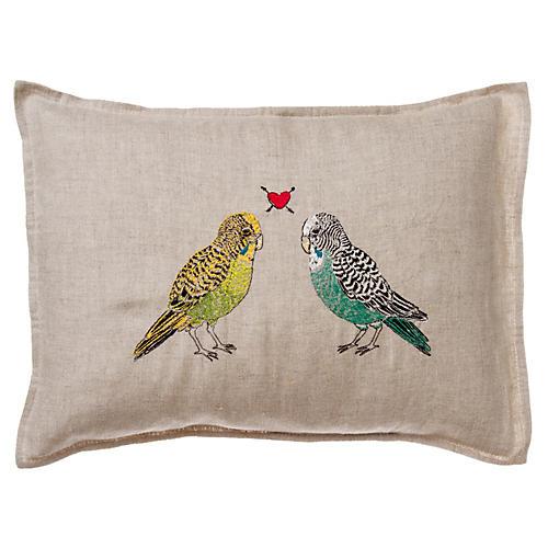 Parakeet Love Pillow
