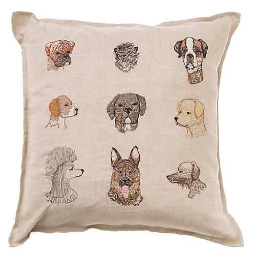 Dog 16x16 Pillow, Natural