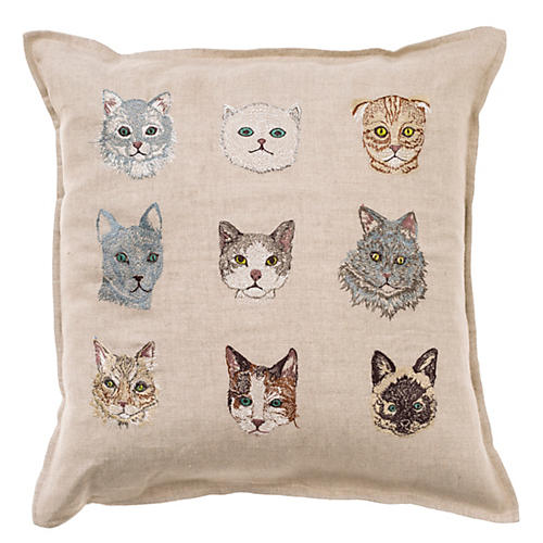 Cat 16x16 Pillow, Natural
