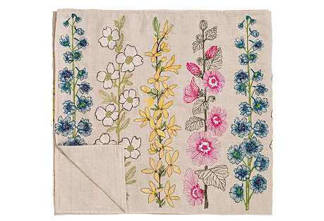 Flowers Linen Table Runner, Natural
