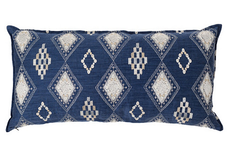 Portico 16x32 Lumbar Pillow, Indigo