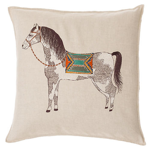 Pinto Horse 20x20 Pillow, Natural Linen