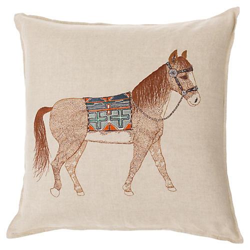 Quarter Horse 20x20 Pillow, Natural Linen