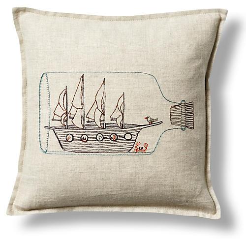 Ship In a Bottle 12x12 Pillow, Linen