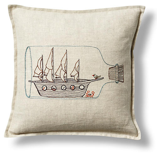 Ship In a Bottle 12x12 Pillow, Linen