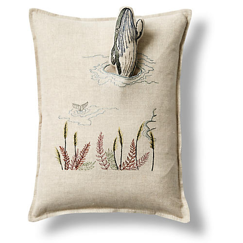 Humpback Whale 12x16 Pocket Pillow, Natural Linen